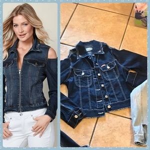 Jackets & Blazers - NWOT, Stunning Cold shoulder fray Jean Jacket